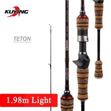"""KUYING canne à pêche légère Teton L, 1.98m, 66 """", en fibre de carbone, à Action moyenne, rapide, au leurre, 2 à 10g, FUJI"""