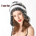 New Women Winter Warm Real Natural Genuine Rabbit Fur Cap Headwear Winter warm Hat Free Shipping KNT8356