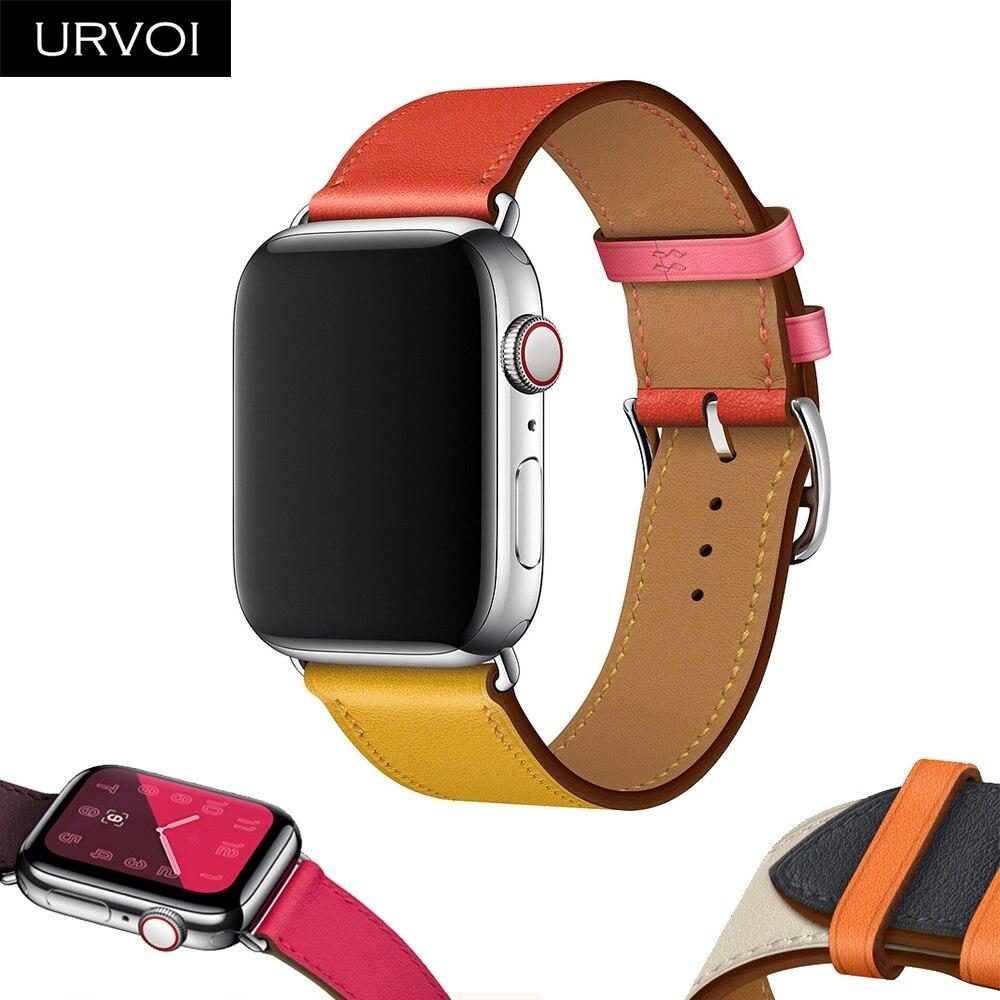 アップルウォッチシリーズ4のURVOIシングルツアーストラップiWatch手首のクラシックハンドメイドデザインの3/2/1スイフトレザーバンド2018新しいアップルウォッチシリーズ4