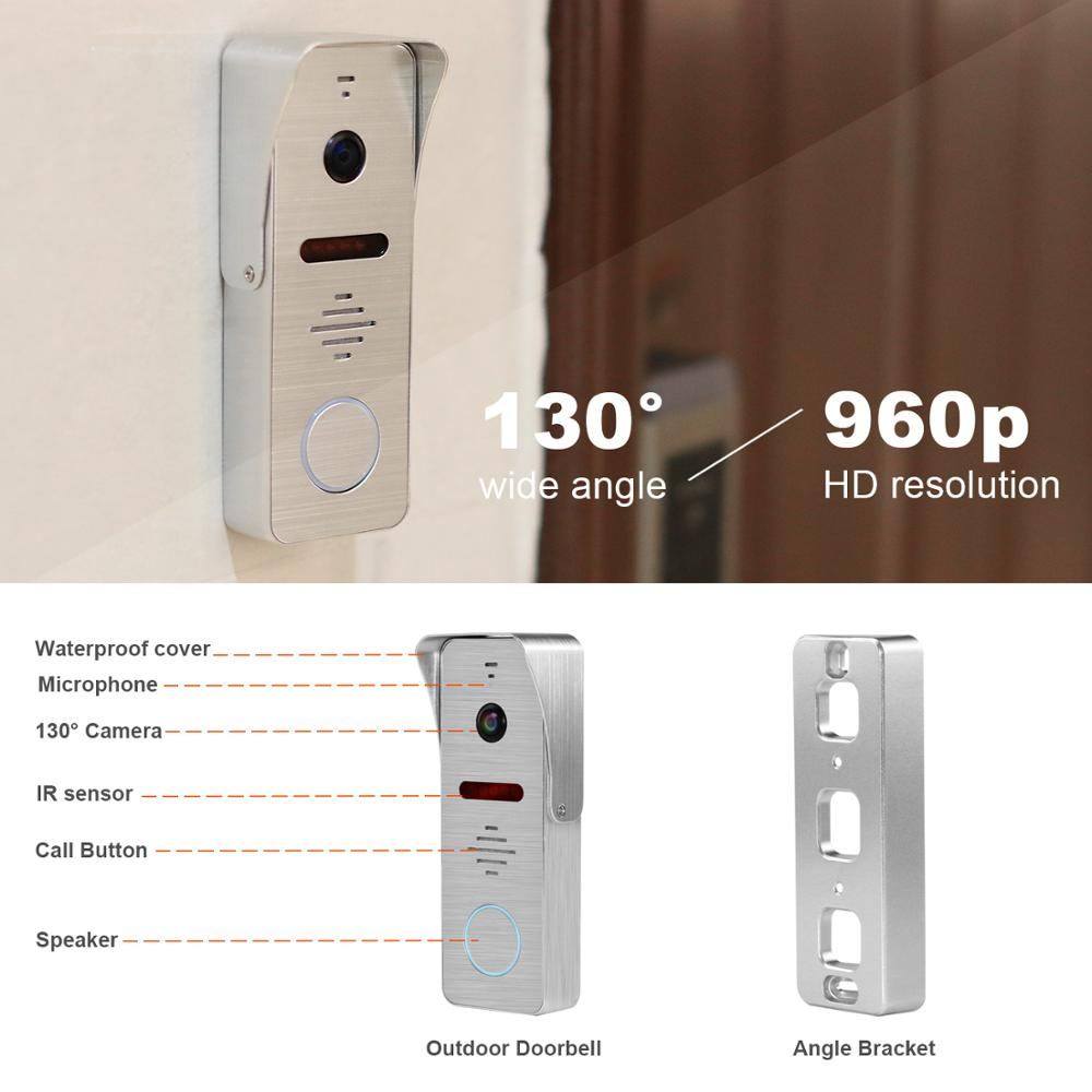 Image 5 - 960P HD Video Door phone Intercom for Home intercom system Support Motion Detect Record 32GB SD Card  Wired 7inch video Doorbell-in Video Intercom from Security & Protection
