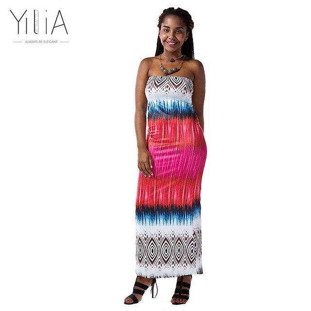 Yilia africano impresión verano playa sin tirantes 2017 bodycon de ...