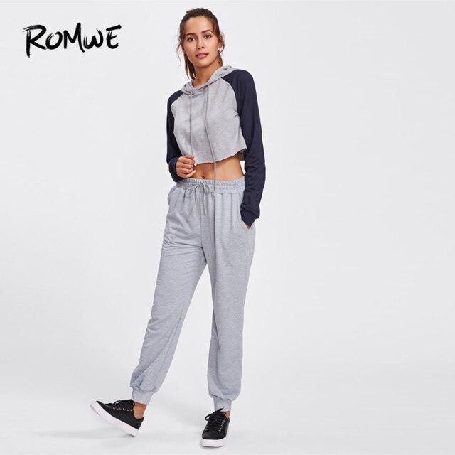 Romwe Спорт Серый шнурок талии марли женские спортивные брюки зимние штаны для бега упражнения на открытом воздухе спортивные упражнения для ... 2