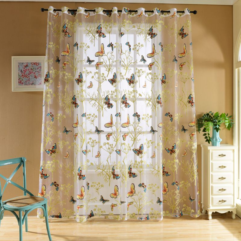 Semi Sheer Curtains For Kitchen Curtain Linen Textured: New Floral Print Semi Sheer Curtains Printed Butterfly For