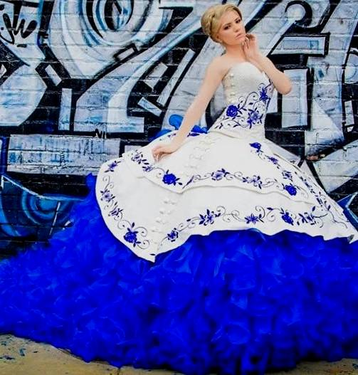 fc8e5942a9 2017 Royal Blue Sweetheart Floral Embroidery Quinceanera Dresses New  Elegant Sleeveless Organza Ball Gown Masquerade Vestido 15