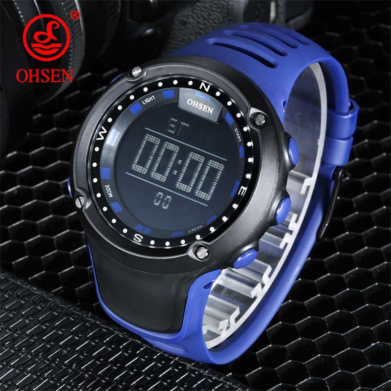 OHSEN Relogio Masculino Men's Sport Watch Vintage Multi Function Male Military Digital LED Quartz Sports Wristwatches Waterproof
