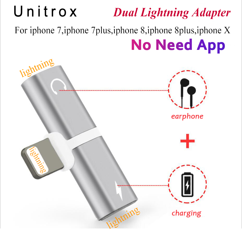 2 in 1 Charger Audio Adaptor dual For Lightning to Jack Earphone AUX Cable Adapter For iPhone 7 8Plus X Charging/Audio/Calling two in one audio earphone charging transfer cable