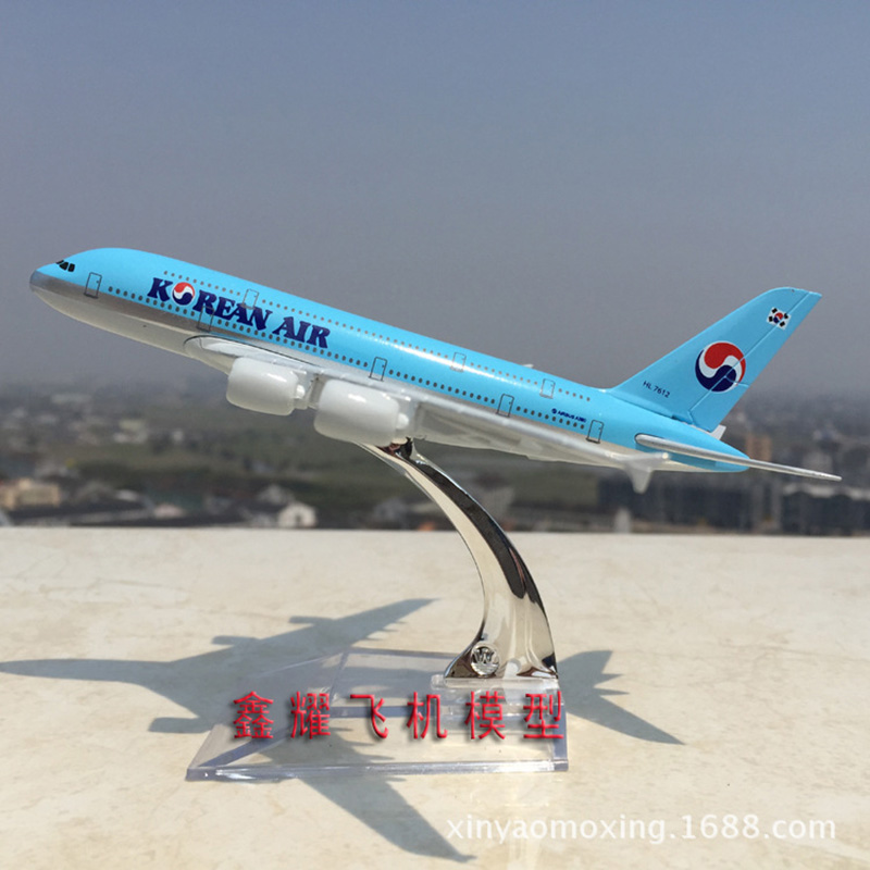 16cm Korean Air A380 Alloy Aircraft Model Aero A380-800 South Korea Airplane Airbus Static Model Airways Aviation Plane Model