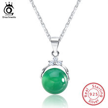 ORSA JEWELS Fashion 925 Sterling Silver Pendant Necklaces with Shiny Green Natural Stone for Women Genuine Silver Gift SN01(China)