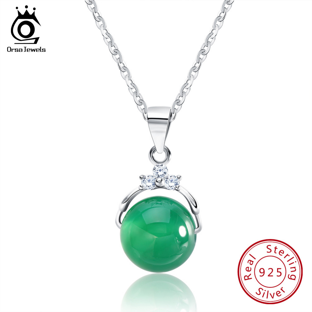 ORSA JEWELS Collares pendientes de plata de ley 925 con Shiny Green Natural Stone para mujeres Genuino regalo de plata SN01