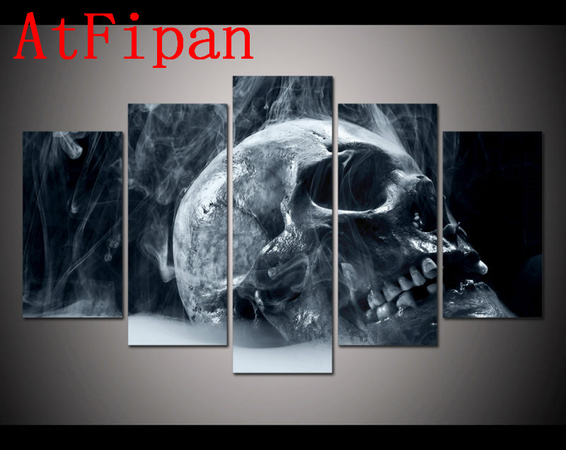 atfipan good quality modular wall paintings 5 sets halloween horror skull modern home wall decor canvas - Good Halloween Font
