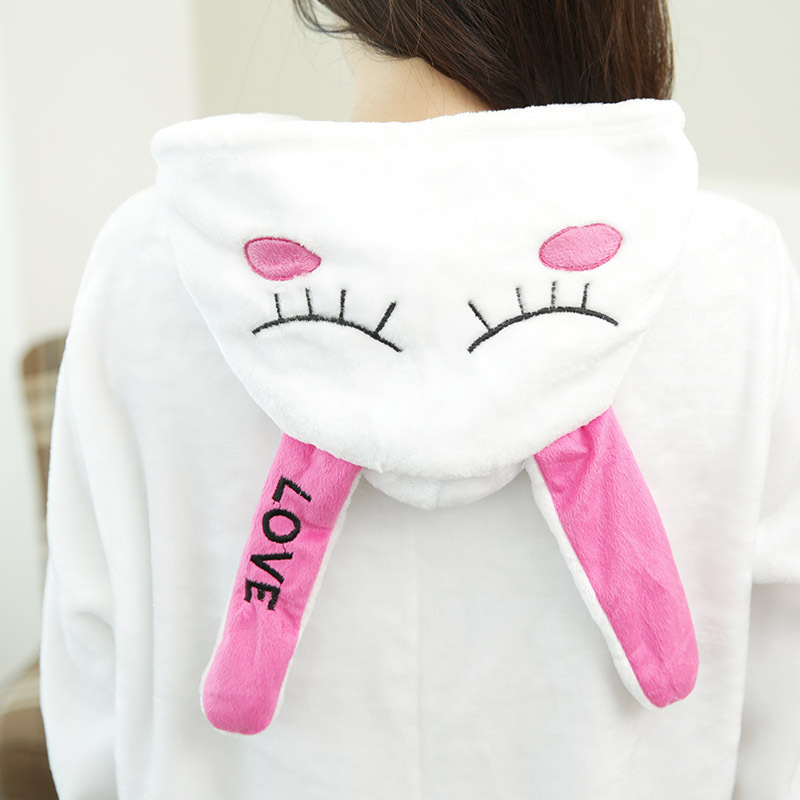 Cute Love Rabbit Cartoon Adult Unisex Autumn Winter Animal Cosplay Pajamas Sleepwear Onesies Pajama For Women Men Couples Girls