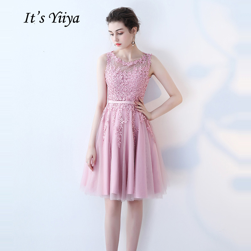 It's YiiYa   Cocktail     Dress   Little Appliques Beading Pink Wedding Formal   Dresses   Flowers Illusion Knee Length Party Gown LX073-2