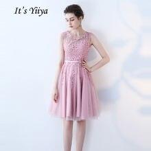 Женское коктейльное платье it's yiiya розовое вечернее до
