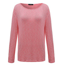 New Spring Casual O Neck Long Sleeve Cotton T-Shirts Tops  Solid Color Loose Knitted Blusas