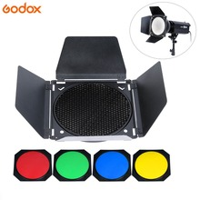 Godox Barn Door Honeycomb Grid with 4 Color Gel Filter for Standard Reflector цена 2017