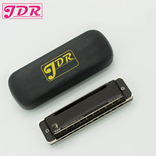 JDR Diatonic Blues Harmonica Standard 10 Hole Harmonica With Case Key Of C for Blues Rock Jazz Folk Musical Instrument