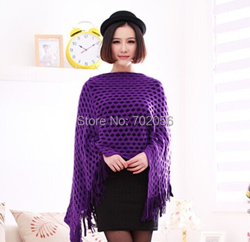 All matched burn out knit ponchos Leisure Cardigan Knitting Coat lady Batwing Cape Poncho shawl wraps Cardigan Sweater #3610