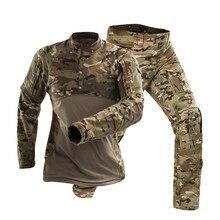 Мужская Уличная Боевая тренировочная тактическая форма с длинным рукавом, костюмы армейских фанатов CS для кемпинга, хлопковая камуфляжная Военная рубашка и штаны, комплект