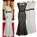 Manera de las mujeres bordadas larga dress lace partido grande hem verano sin mangas cinturón apretado dress floor sirena dress