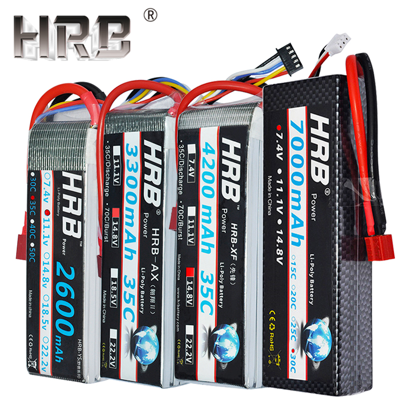 HRB 1800mah Lipo Battery 2S 3S 4S 2200mah 5000mah 6000mah 2600mah 11.1V 7.4V 14.8V 5S 6S XT60 Deans T TRX Airplane RC Parts Car(China)