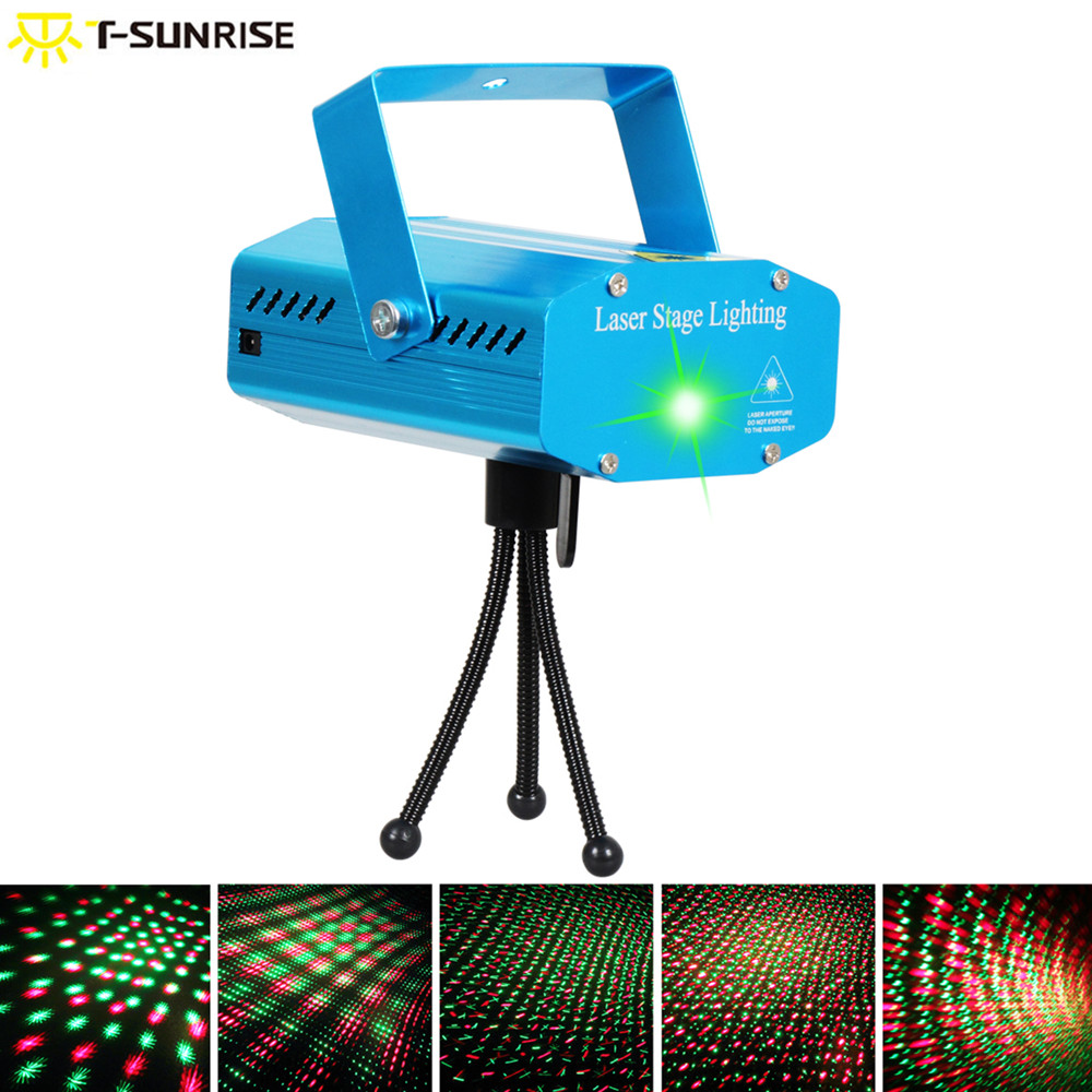 T-SUNRISE Stage Lighting Effect LED Laser Disco Light RGB Mini Party DJ DMX Lighting Projector for Home Club KTV with Remote the latest 2lens 40 pattern laser light for dj disco club party stage lighting effect page 2