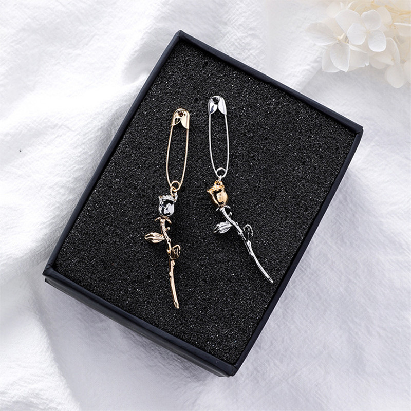 New Cute Safety Pin Rose Flower Pendant Long Drop Dangle Earrings for Women Korean Statement Party Jewelry Wholesale 5A1033