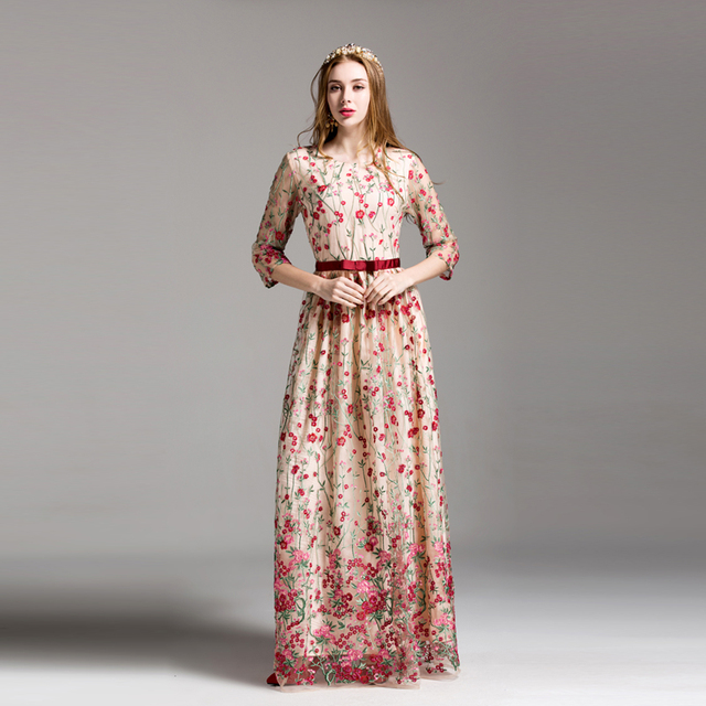 2b7bdc8e16ef0 US $83.99 |HIGH QUALITY Newest Fashion 2017 Designer Maxi Dress Women's 3/4  Sleeve Stunning Embroidery Gauze Long Dress-in Dresses from Women's ...