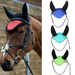 Passeios a cavalo Respirável Malha Tampa Ouvido Equestre Do Cavalo Cavalo Equipamentos Paardensport Voar Máscara Capô ouvido net maks protetor S