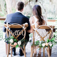 35cm(14inch) Wedding Chair Signs Hoop Better Together Wooden Hanging Sign Set Country Wedding Decoration