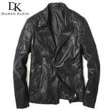 Dusen Klein Motorcycle leather jackets and coats men Genuine Sheepskin Slim/Casual Designer male black outwear 61P15102