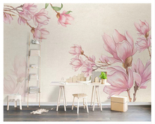 beibehang Customized modern eco-friendly silky papel de parede 3d wallpaper Nordic minimalist hand-painted magnolia background