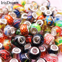 New 10 pcs Lot Big Hole Murano Plastic Resin Glass Beads Charms For Jewelry Making Fit DIY Pandora Bracelet Chain Necklace Gift