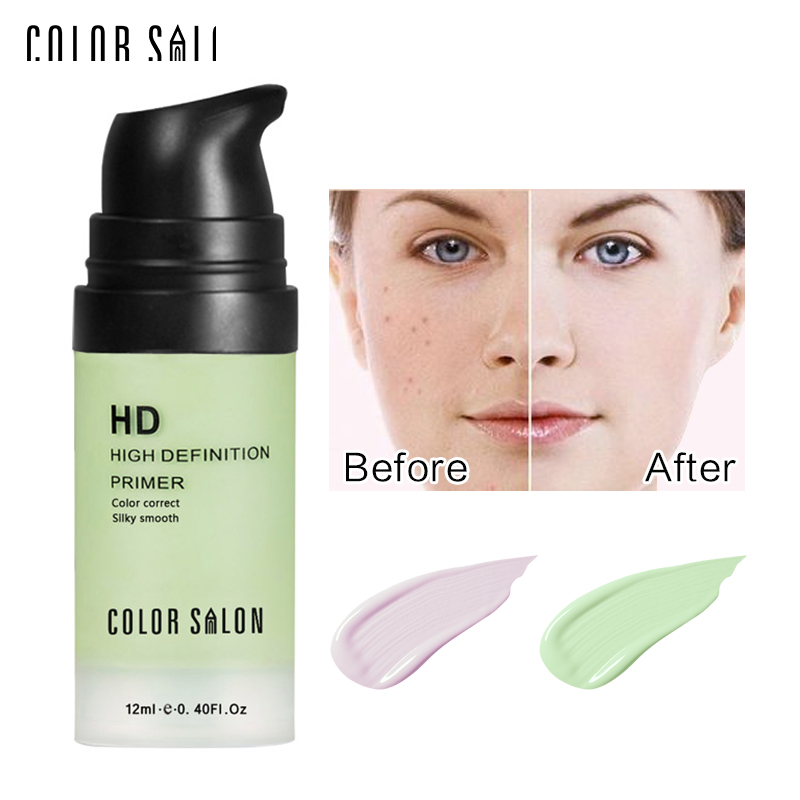 11.11 Color Salon face Care Corrector Primer 12ml green&purple Easy to Absorb Smooth Makeup Base Cream Natural Moisturizer image