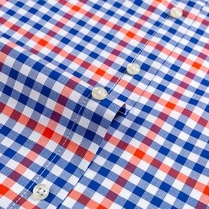 Image 4 - Mannen Casual Korte Mouwen Geruite Shirts Standaard Fit Zomer Dunne Zachte 100% Katoen Button Down Plaid gestreepte Jurk Shirt