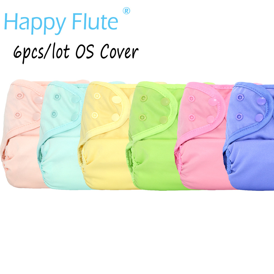 (6pcs/lot)Happy Flute OS Baby Cloth Diaper Cover With or Without Bamboo Insert,waterproof breathable S M& L adjustable