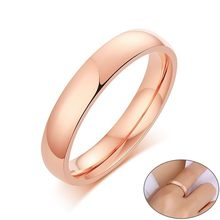 Basic 585 Rose Gold Tone Wedding Bands Rings for Women Man Mirror Stainless Steel кольцо свадьба(China)
