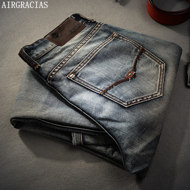 AIRGRACIAS Brand Jeans Retro Nostalgia Straight Denim Jeans Men Plus Size 28-40 Casual Men Long Pants Trousers Brand Biker Jean xmy3dwx n ew blue jeans men straight denim jeans trousers plus size 28 38 high quality cotton brand male leisure jean pants