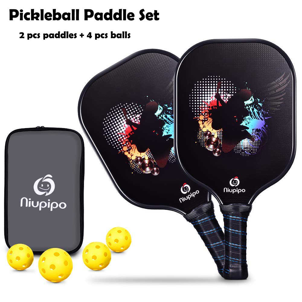 New Graphite Pickleball Paddle 2 Paddles 4 Pickleball Balls Carbon Fiber Face Pickleball Racquet Nomex Honeycomb Core Racket