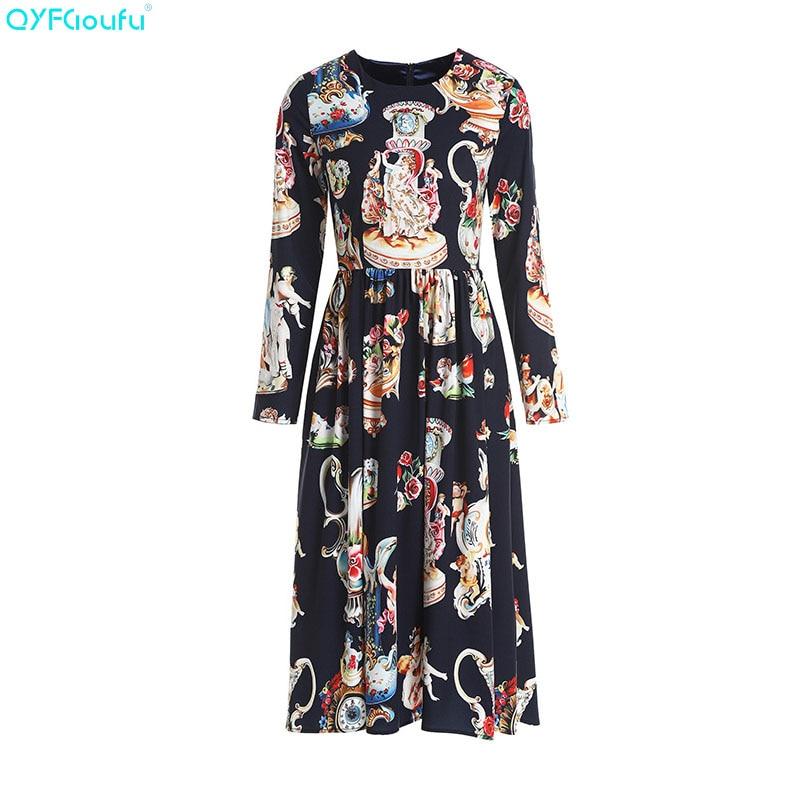 4f70f8a8ab3 QYFCIOUFU-nueva-2018-Fashion-Runway-Vestido-de-manga-larga -negro-ngel-impresi-n-Floral-Casual-elegante.jpg