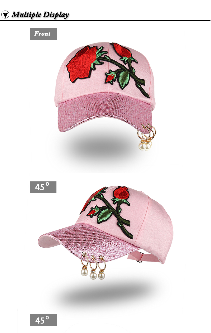 Embroidered Rose Baseball Cap - Front and Front Angle Views
