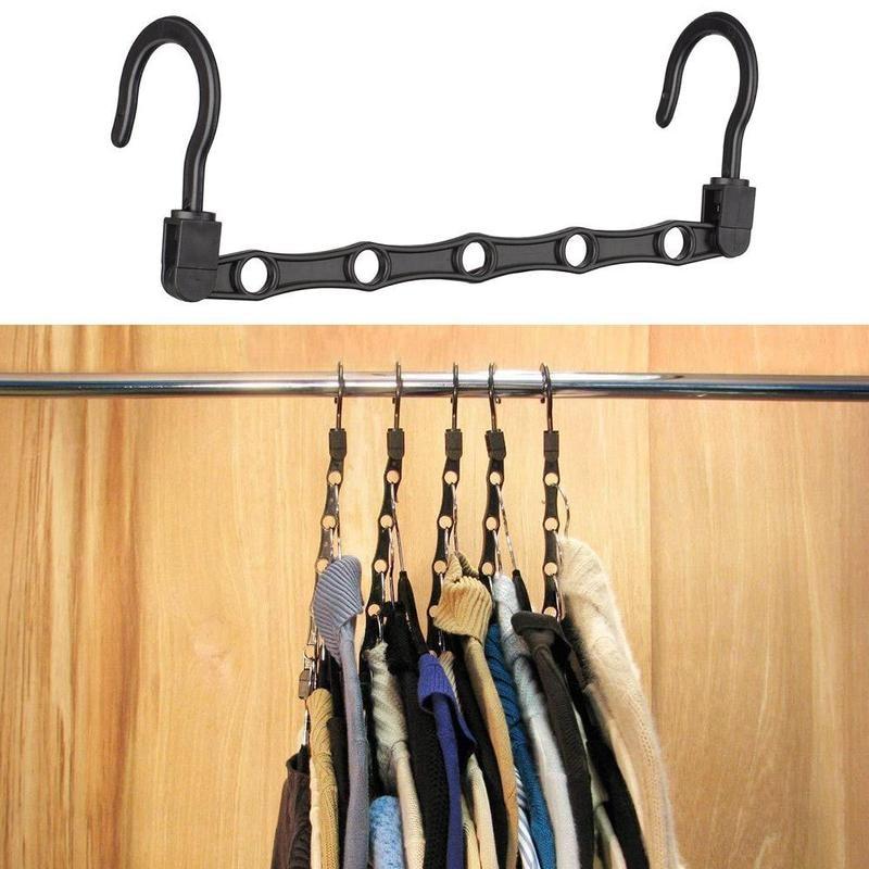 1pcs 5 Hole Plastic Hanger Windproof Wardrobe Hanger Storage Clothes Hanging Hook Bedroom Space Saving Organization