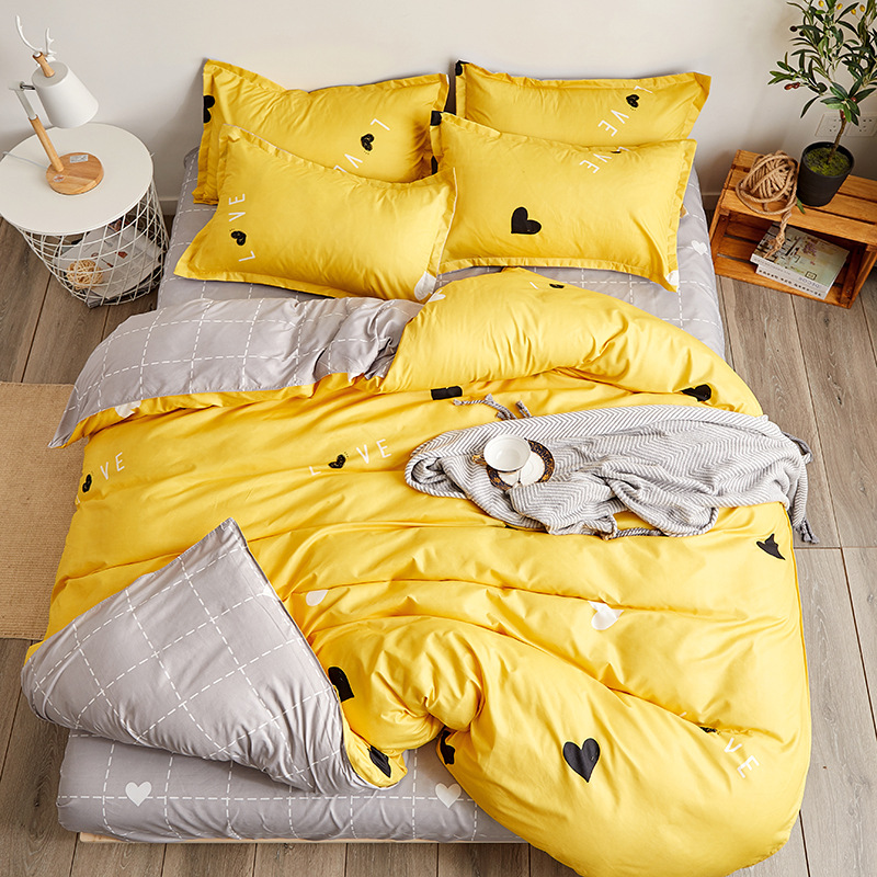 BEST.WENSD Bedding Set Yellow Single Double Person Heart-shaped Bedding Quilt Cover Set Sheet Comforter Beddengoed Roupa De Cama