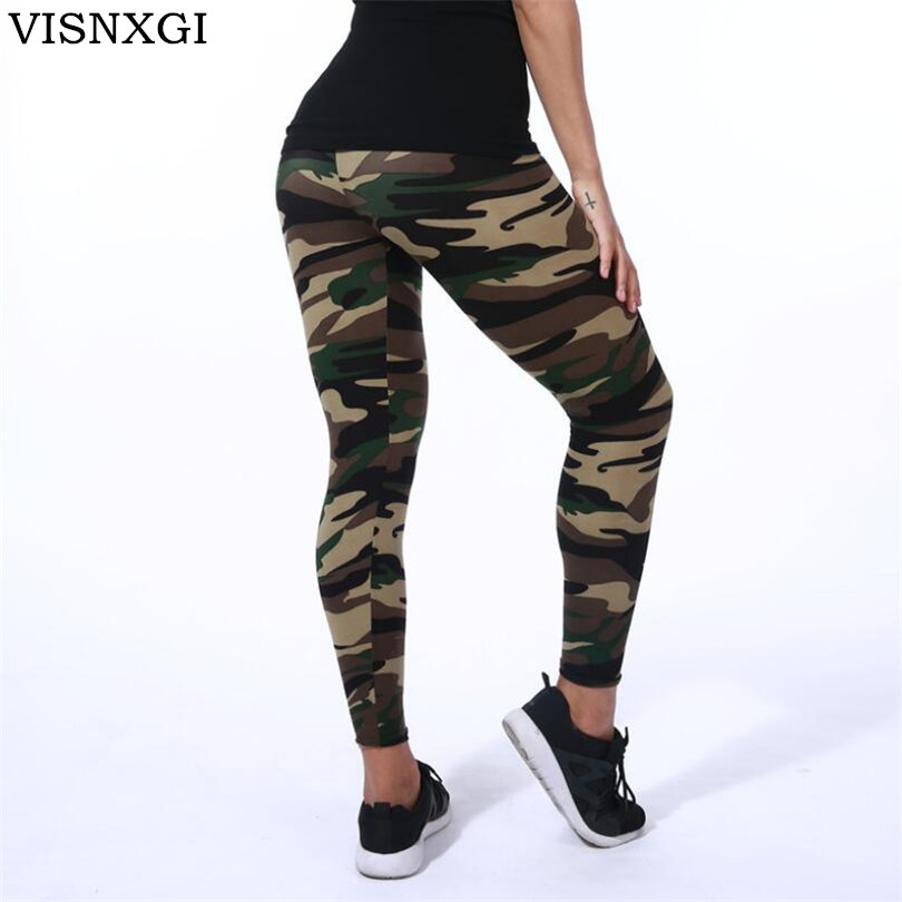 Kick casual outfits up a few notches with this bold camo print legging. The wide, sexy stretch waistband and flexible fit are all-day-comfortable and everyday versatile. Just add a tee and sneakers.High Quality Camouflage Leggings is way to go!