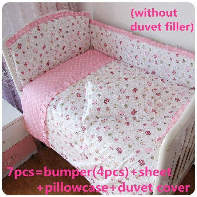 Promotion! 6/7PCS Cartoon Baby Bedding Set Baby cradle cot bedding set cunas Quilt Cover, 120*60/120*70cm