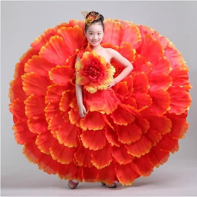 children Flamenco dance costume spanish costumes kids flamenco petal dress spanish flamenco dress jude flamenco with headress720