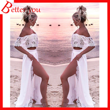 Hot sale Summer dress 2019 women New beach white color lace sexy off shoulder midi