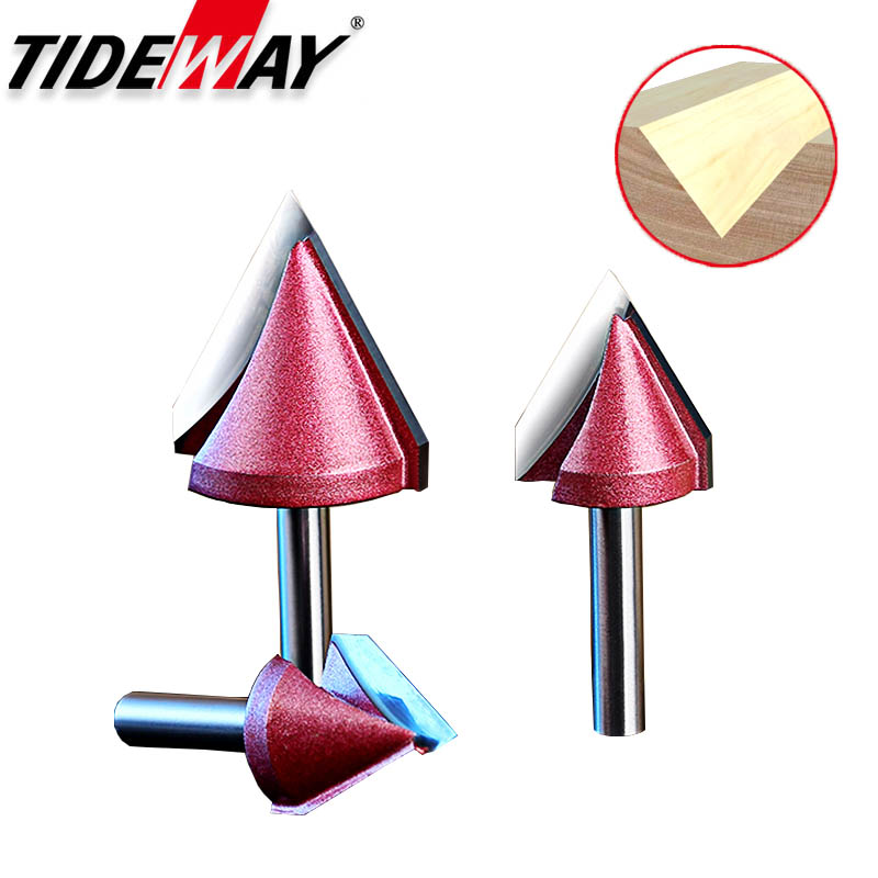 Tideway 1pcs 6mm V Bit End Mill CNC 3D Router Bits Wood Solid Tungsten Carbide 60 90 120 Deg MDF Woodworking  Milling Cutters