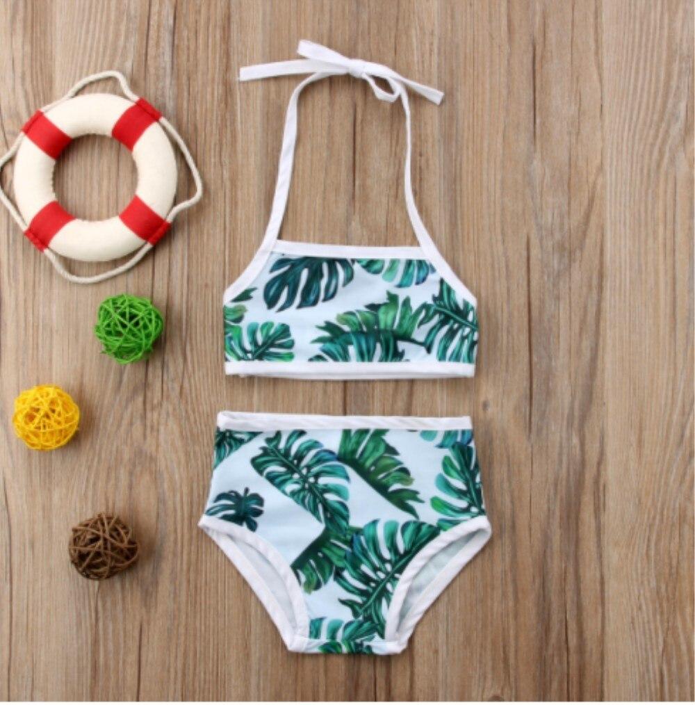 2018 Новые девушки зеленый лист печати принцесса купальники и пляжная одежда бикини летние дети оптовая продажа