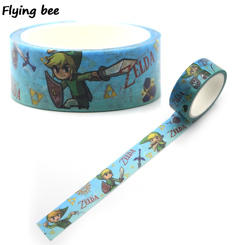 Flyingbee 15mmX5m Paper Washi Tape Game Anime Adhesive Tape DIY Scrapbooking Sticker Boys Cool Label Masking Tape X0330