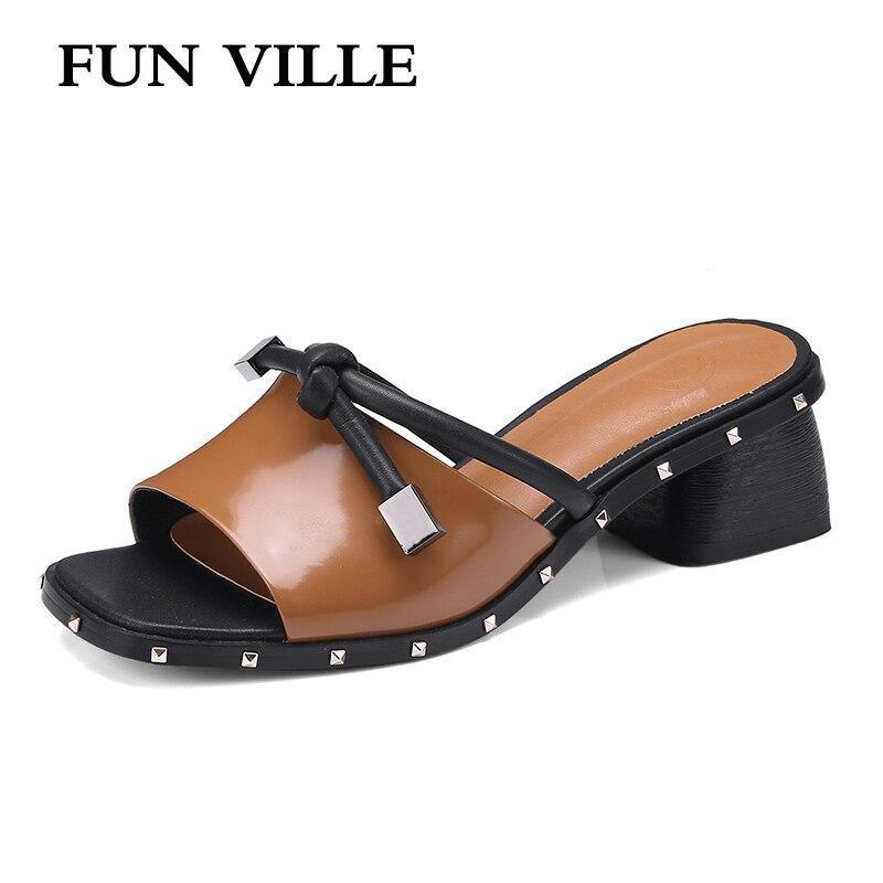 FUN VILLE 2018 Summer New Fashion Women Slippers Genuine Leather high heel Open Toe shoes for woman sexy ladies shoes size 34-42 playmobil 5266 summer fun детский клуб с танц площадкой